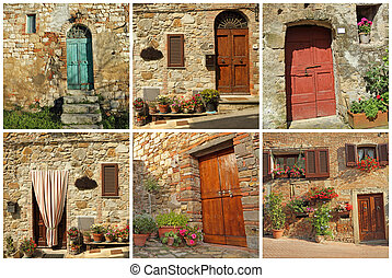 postcard with rustic tuscan doors, Italy