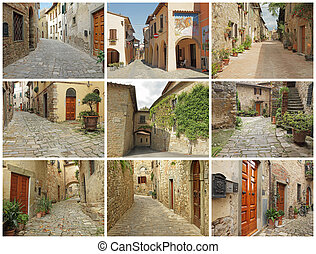 postcard with beautiful italian small town streets