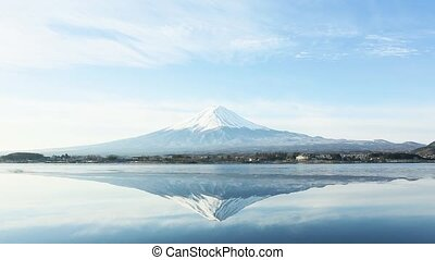 a inverted image of Mt. Fuji