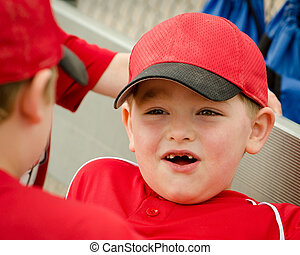 Portrait of child baseball player