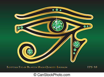 Eye of Ra Emerald - The Egyptian Eye of Ra with Gold and...
