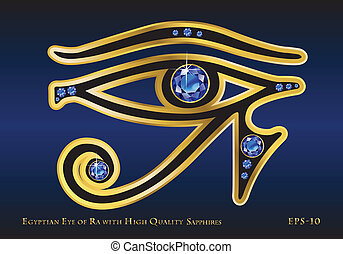 Eye of Ra Sapphire - The Egyptian Eye of Ra with Gold and...