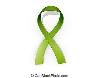 Green Awareness Ribbon - A looped green awareness ribbon