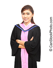 graduation women with degree suit on white background