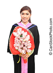 graduation women wear degree suit with money flower