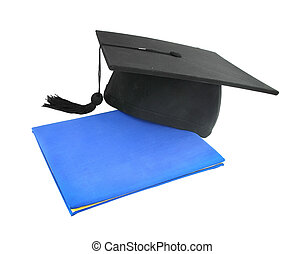 graduation cap with diploma on white background