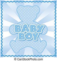 Teddy Bear Baby Boy - Polka dot teddy bear, baby boy block...