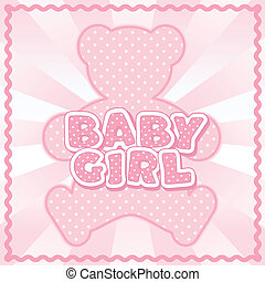 Teddy Bear Baby Girl - Polka dot teddy bear, baby girl block...