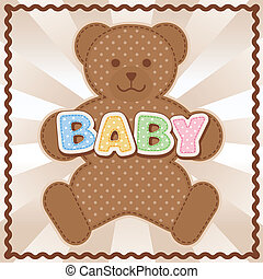 Baby Teddy Bear - Polka dot teddy bear, baby block letters,...