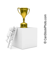 man with cup on podium Isolated 3D image