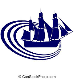 Sailing ship-17 - The contour of the ancient sailing ship...