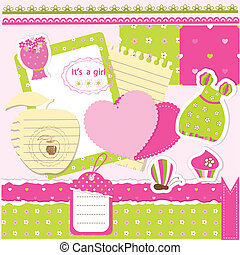 Baby girl scrapbook set