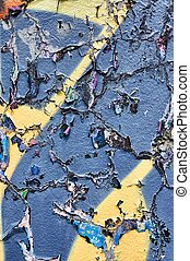Cracked blue wall - Cracked and old blue wall