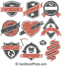Abstract set of vector stamps