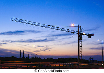 Crane at night - Single cran at night on construction site