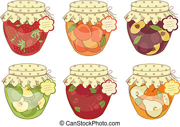 Jars of jam - Set jars of jam isolated over white