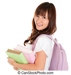 Asian girl student - Portrait of smiling young adult Asian...