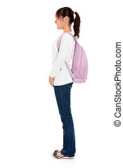 side view of Asian female student - Full body side view of...