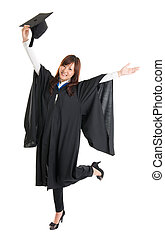 Graduate student jumping - Full body excited Asian female...