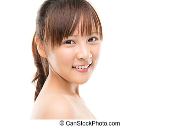 Close up of Asian young woman face