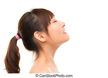 Asian skincare woman side view deep breath refreshing, skin...