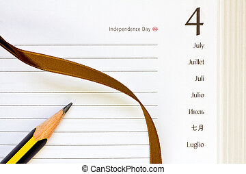 july 4th diary - open diary for the July 4th page