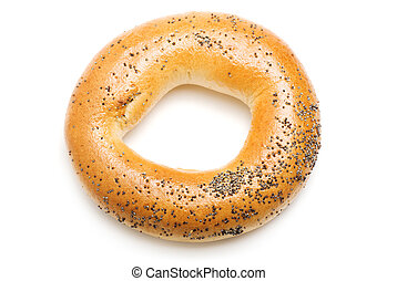 Bagel with poppy seeds, isolated on a white background