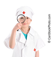 Smiling young nurse with magnifying glass - Portrait of a...
