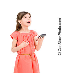 Inspired girl with mobile phone