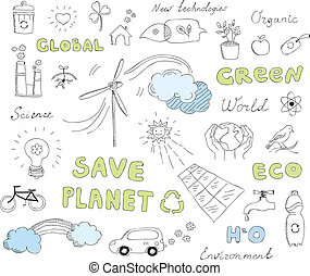 Ecology doodles vector elements set - Hand drawn vector...