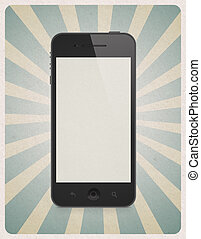 Retro style background with mobile phone