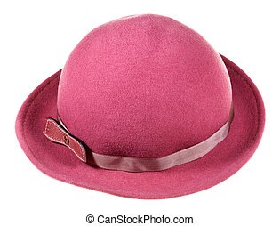 woman felt magenta hat with wide brims on wooden block...