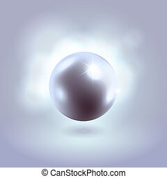 Blue glowing gorgeous pearl ball - Gorgeous blue spherical...