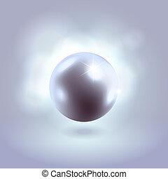 azul, encendido, magnífico, perla, Pelota