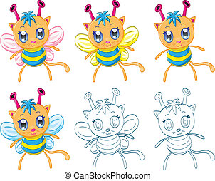 Cartoon chibi fantasy creatures - The collection of cartoon...