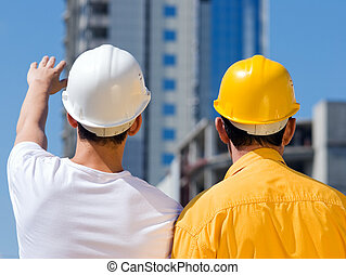 builders - building concept, selective focus on nearest part...