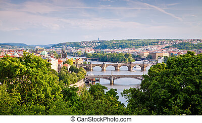 Prague Bridges Across Vltava River
