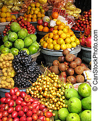 Bali: exotic fruits and vegetables at a traditional open air...