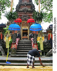 Bali: gorgeus Pura Saraswati temple at the lovey village of...