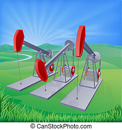 Oil well pumpjacks - Illustration of oil well pumpjacks also...