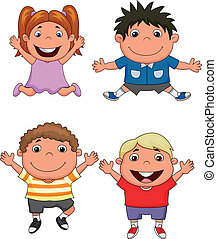 Happy kids cartoon - Vector illustration of Happy kids...