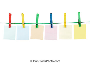 Clothespins With Blank Message Cards - Washing line with...