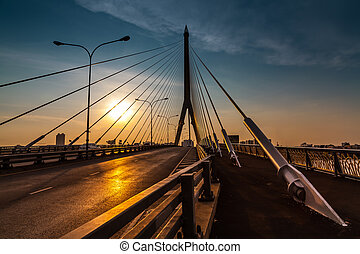 Rama 8 bridge in Bangkok Thailand.