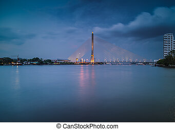 Bridge Rama 8. - Night Landscape Bridge Rama 8 in Bangkok...