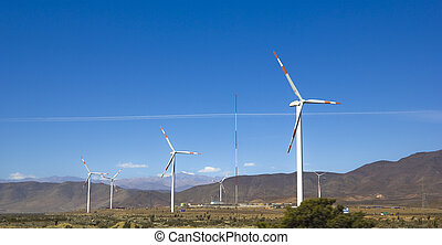 Wind turbines on a wild field - Wind farm in northern Chile,...