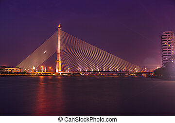 Bridge Rama 8 - Night Landscape Bridge Rama 8 in Bangkok...