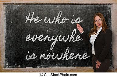 profesor, actuación, él, partes, en ninguna...