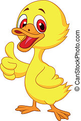 Cute baby duck cartoon thumb up - Vector illustration of...