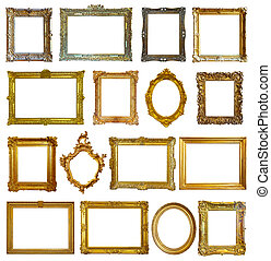 Set of 16 picture frames. Isolated over white background...