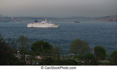 Bosporus time lapse - time lapse sea traffic on the Bosporus...
